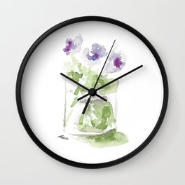 Watercolor Violets in a Mason Jar Wall Clock