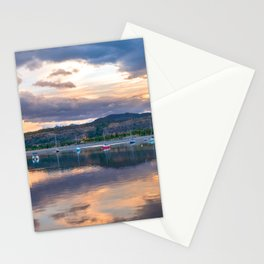 Calm Waters // Lake and Boats at Sunset Beautiful Landscape Photograph Scenic Mountain View Stationery Cards