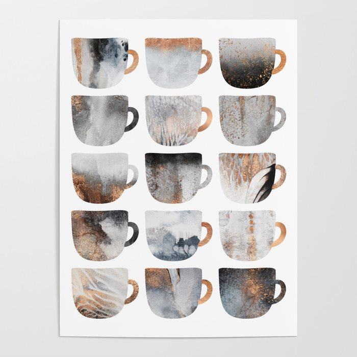 Dreamy Coffee Cups Poster