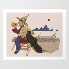 Cormorant Fisherman Art Print