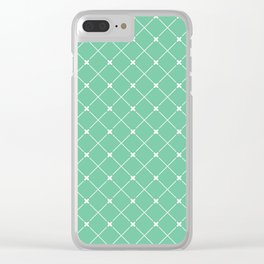 Geometrical abstract modern white green pattern Clear iPhone Case