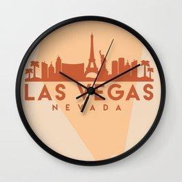 LAS VEGAS NEVADA CITY MAP SKYLINE EARTH TONES Wall Clock