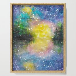 Crescent Moon Reflection Galaxy watercolor by CheyAnne Sexton Serving Tray