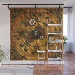 Noble steampunk design with clocks and gears Wall Mural