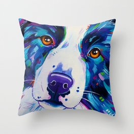 Collie close up - Border Collie Artwork Throw Pillow