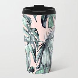 Island Love Coral Pink + Green Travel Mug