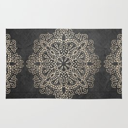 Mandala White Gold on Dark Gray Rug
