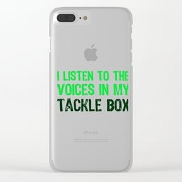 I Listen To Voices In My Tackle Box (Green) Clear iPhone Case