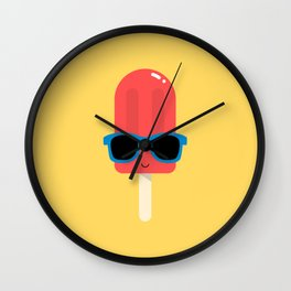 Red Ice Pop Wearing Blue Sunglasses Wall Clock