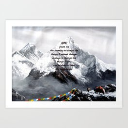 Serenity Prayer With Panoramic View Of Everest Mountain Art Print