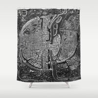 map Shower Curtains featuring Paris map by Le petit Archiviste