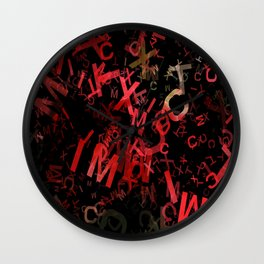 Mottled Red Poinsettia 1 Ephemeral Letters 1 Wall Clock