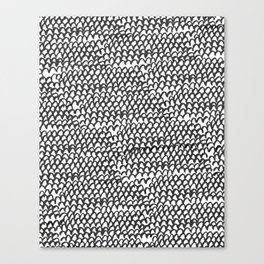 Hand painted monochrome waves pattern Canvas Print