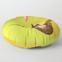 Hummingbird Seeks Flower (Color) Floor Pillow