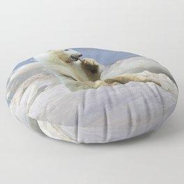 Cute Polar Bear Cub & Arctic Ice Floor Pillow