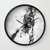witch Wall Clocks featuring Witch by Elias Aquino