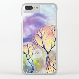 trees in a violet haze Clear iPhone Case