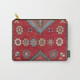 Tribal Honeycomb Palmette III // 19th Century Authentic Colorful Red Flower Accent Pattern Carry-All Pouch