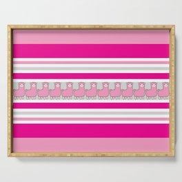 Llama Stripe / Pink Llama Striped Serving Tray