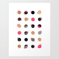 gold dots Art Prints featuring Pink & Gold Minimal Dots by Elisabeth Fredriksson