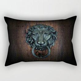 Vintage bronze lion door knocker Rectangular Pillow