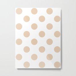 Large Polka Dots - Pastel Brown on White Metal Print