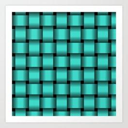 Large Turquoise Weave Art Print
