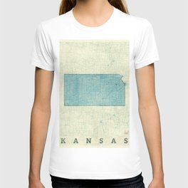 Kansas State Map Blue Vintage T-shirt
