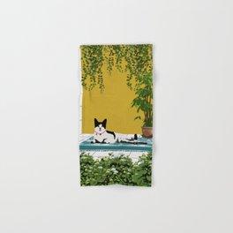 Cute Little Cat Seat In Relax Mood Hand & Bath Towel