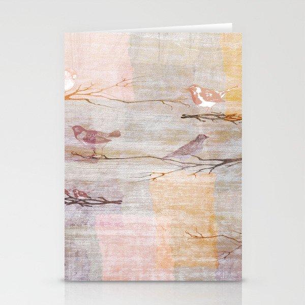 Golden Pink Birds Stationery Cards