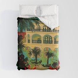 Vintage Capri, Italy Seaside Hotel Albergo La Palma Advertising Poster Duvet Cover