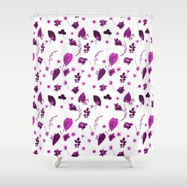 Purple Floral Pattern Pressed Flowers and Leaves Shower Curtain