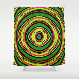 psychedelic graffiti circle pattern abstract in green pink and yellow Shower Curtain