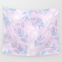 Elegant hand drawn tropical leaf pattern - pink and blue #tropicalart Wall Tapestry