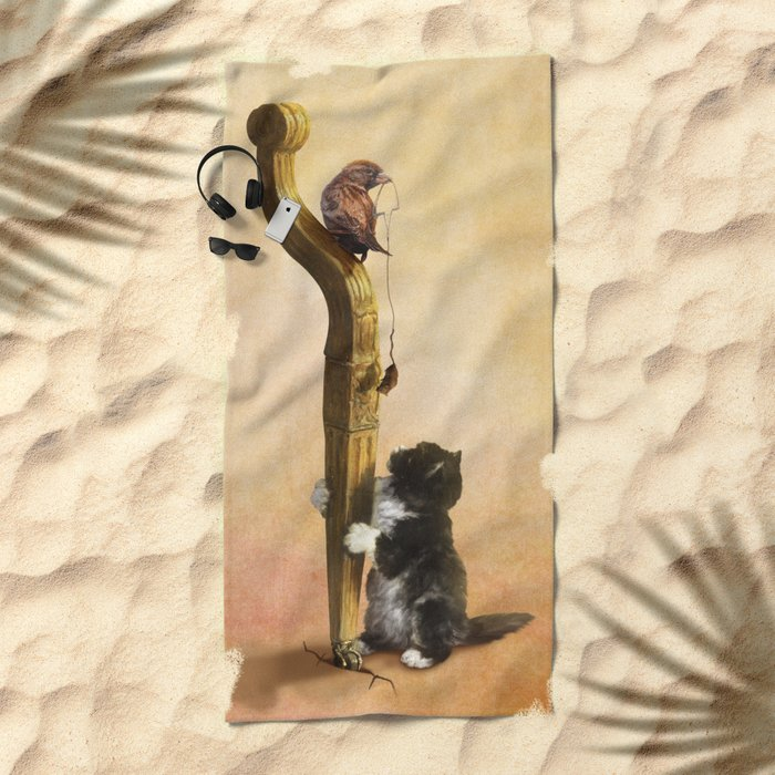 The Cat, the Bird and the Mouse Beach Towel