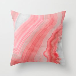 Coral Pink Agate  Throw Pillow