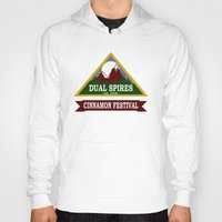 spires Hoodies featuring Psych - Dual Spires Cinnamon Festival by Fried Egg