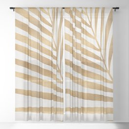 Metallic Gold Palm Leaf Sheer Curtain