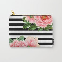 Pink Peonies Black Stripes Carry-All Pouch