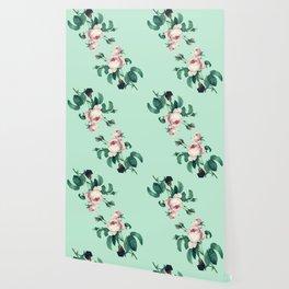 Roses Mint Green + Pink Wallpaper