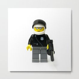 Cool policeman Minifig with a tommy gun Metal Print