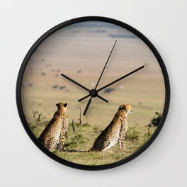 Two cheetahs on the look out Wall Clock