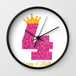 Happy Birthday Girly Princess Pink with Crown with age of 4 Wall Clock