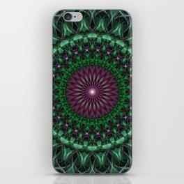 Glowing green and plum mandala iPhone Skin