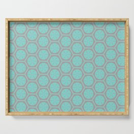 Hexagonal Dreams - Grey & Turquoise Serving Tray