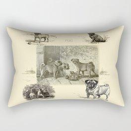 PUG DOGS Illustration Rectangular Pillow