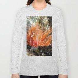 Orange spirograph sailor background   Fond Marin spirographe Long Sleeve T-shirt