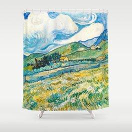 Mountain Lanscape behind the hospital saint paul by Vicent Van Gogh Shower Curtain