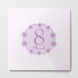 8 March Women's Day greeting card template Metal Print
