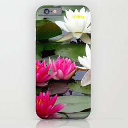 Water Lilies - Pink and White iPhone Case